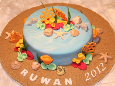 Sea Creatures and Corals Birthday Cake