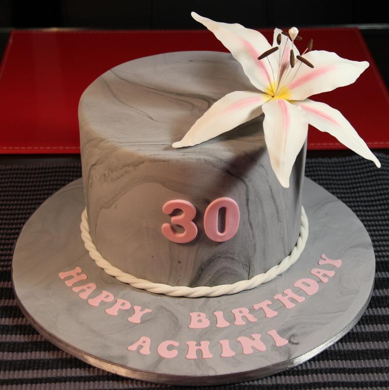 Lily Flower 30th Birthday Cake