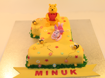 Pooh with Number 1 Birthday Cake